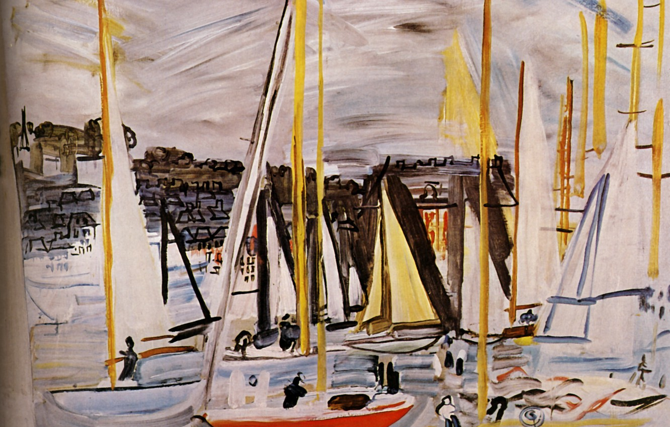 Фото обои 1935, Huile sur Toile, Raoul Dufy, The Basin of Deauville, Le Bassin de Deauville, Collection …