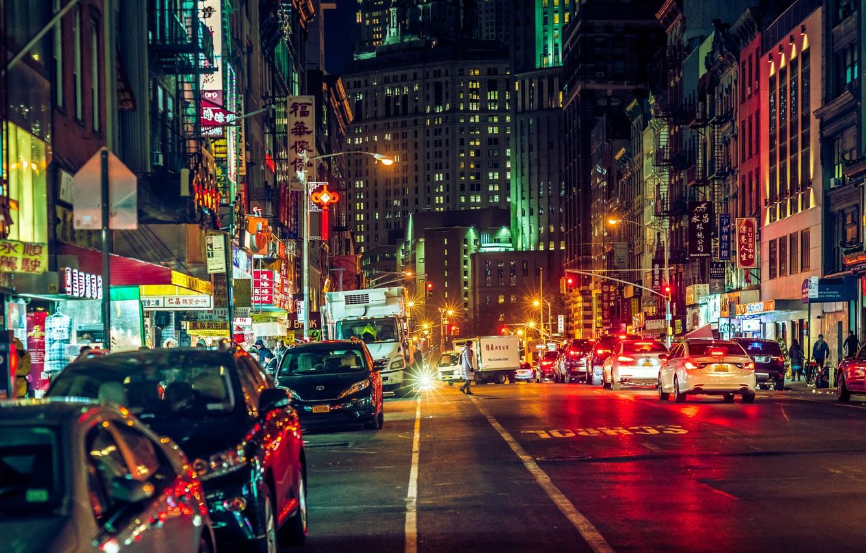 Обои cars, улица, дома, ночь, машины, свет. Города foto 10