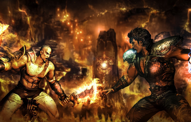 Фото обои game, Kratos, God of War, anime, spartan, strong, blade of chaos, god slayer, ghost of …