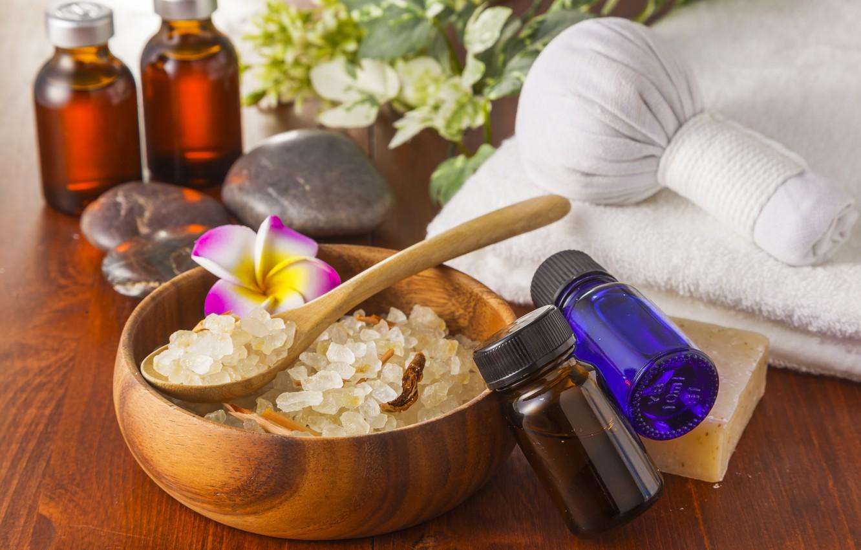 Обои морская соль, масло, цветы, ложка. Разное foto 6