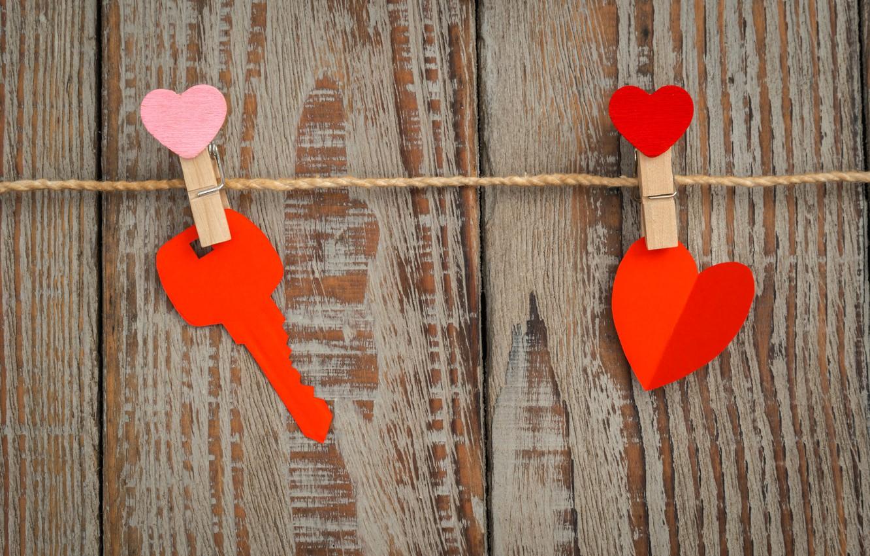 Фото обои сердце, ключ, love, heart, wood, romantic