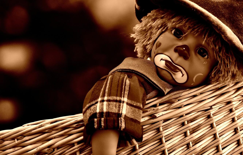 Фото обои корзина, кукла, клоун, сепия, слеза