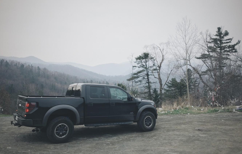Фото обои car, машина, лес, внедорожник, ford, форд, raptor, пикап, jeep, раптор, woods, pickup