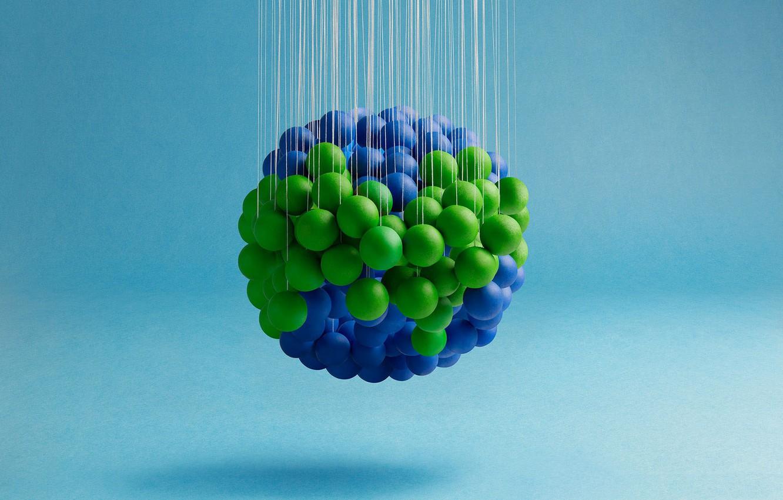 Фото обои шарики, абстракция, краски