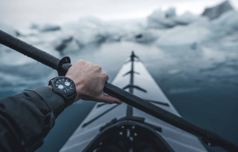 Фото обои лед, часы, рука, туризм, каяк, весло, Сплав по реке, Island Roadtrip