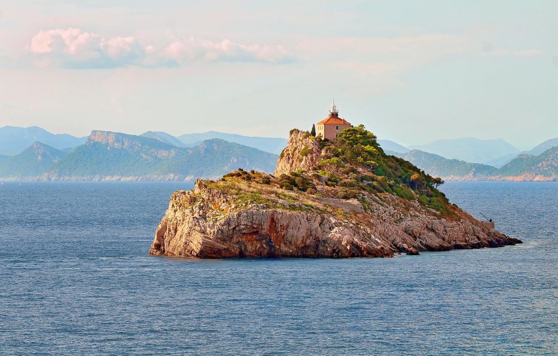 Фото обои sea, seascape, island, lighthouse, Croatia, Dubrovnik, Adriatic Sea, Korčula