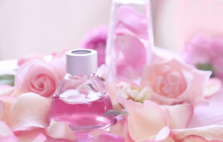 Фото обои духи, лепестки, rose, pink, petals, розовые розы, spa, oil, parfume