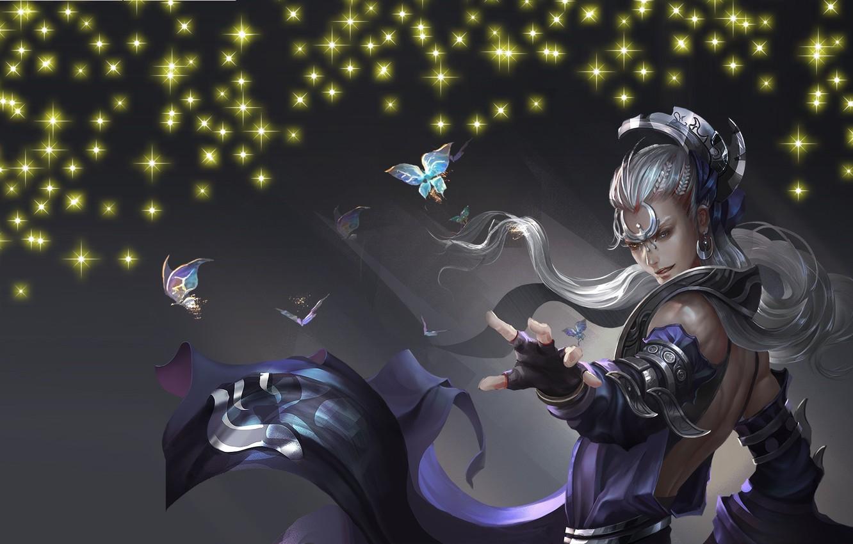 Фото обои бабочки, магия, игра, аниме, арт, парень