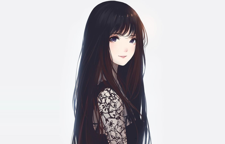 Фото обои взгляд, девушка, брюнетка, арт, милашка