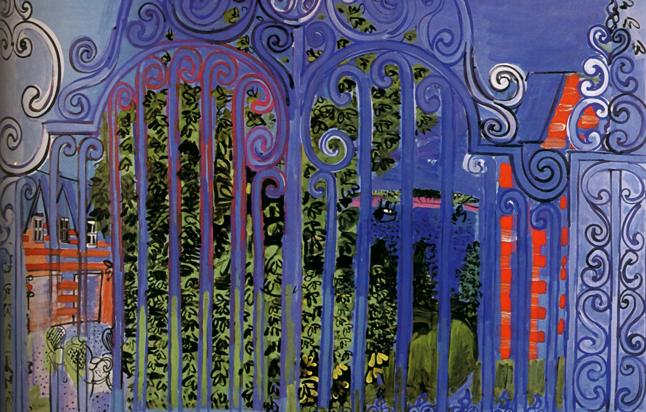 Фото обои New York, 1930, Grille, The Grid, Huile sur Toile, Collection Evelyn Sharp, Raoul Dufy La