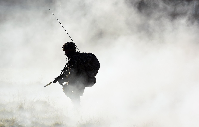 Фото обои туман, оружие, армия, солдат