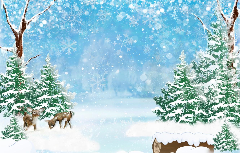 Фото обои зима, лес, снег, деревья, снежинки, блики, арт, сугробы, олени, боке