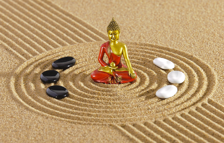 Фото обои энергия, камень, Япония, сад, Japan, stone, Дзен, energy, garden, философия, Zen, песочный монах, sand monk, …