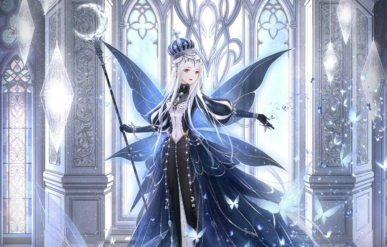 Фото обои девушка, бабочки, крылья, корона, посох