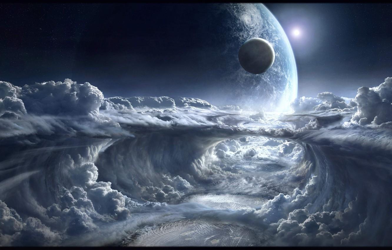 Фото обои космос, облака, планеты, space