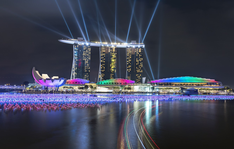 Фото обои lights, огни, небоскребы, Сингапур, архитектура, мегаполис, blue, night, fountains