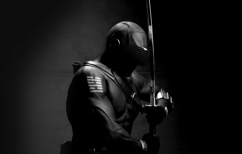 Фото обои dark, sword, art, ninja, hero, G.I. Joe, snake eye