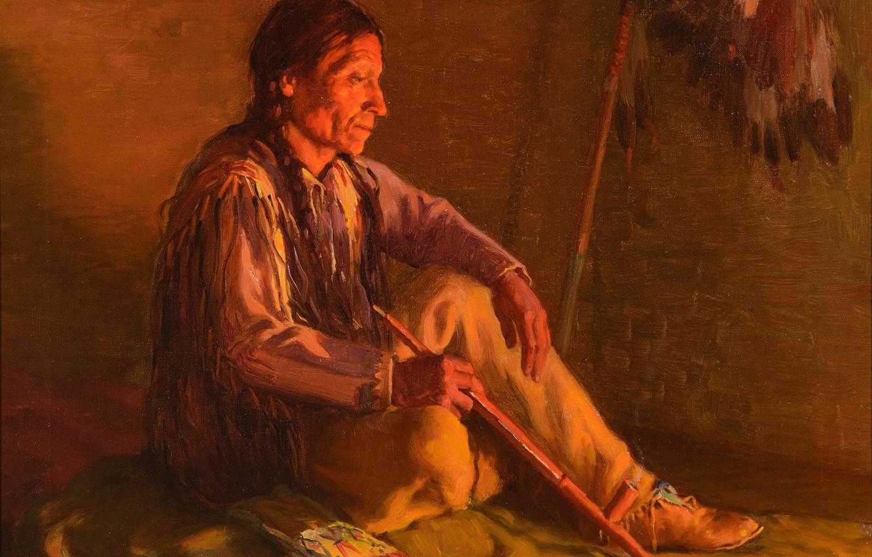 Фото обои Joseph Henry Sharp, таос, Indian by Fire