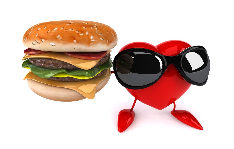 Фото обои сердце, heart, чизбургер, funny, rendering, hamburger, sunglasses, 3D Art