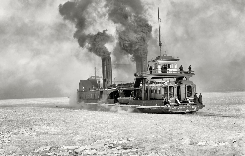 Фото обои ретро, корабль, пароход, США, ледокол, 1904-й год