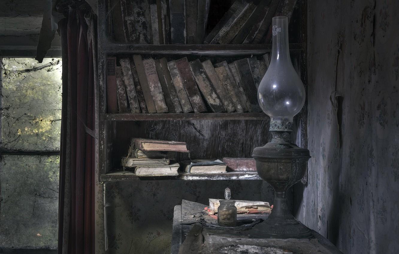 Фото обои книги, лампа, библиотека