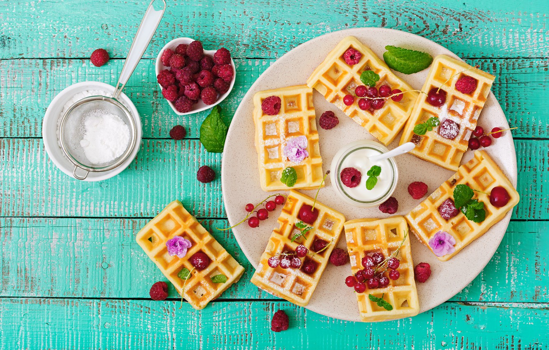 Фото обои ягоды, малина, fresh, wood, вафли, berries, raspberry, wafer