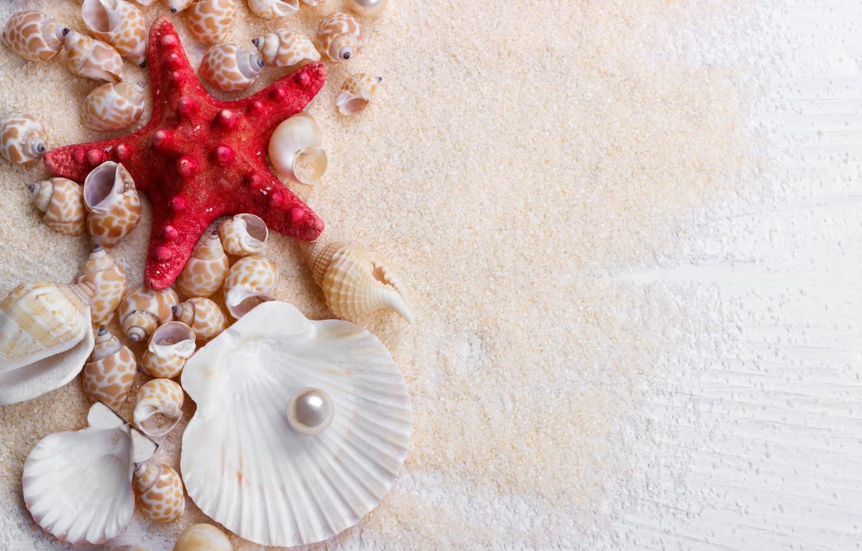 Обои Seashells, sand, Marine, жемчужина, perl, still life, Звезда, starfish, wood, ракушки. Разное foto 6