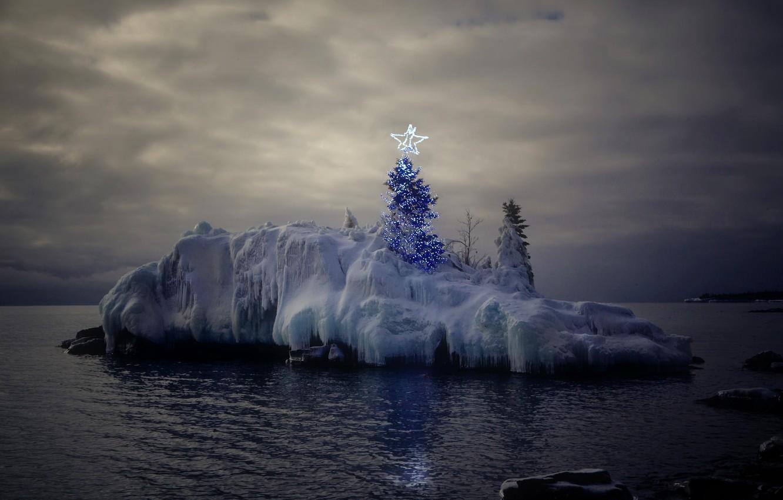 Фото обои море, праздник, вечер, ёлка