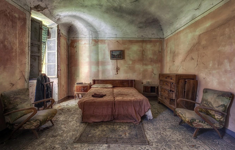 Фото обои комната, кровать, окно, кресла