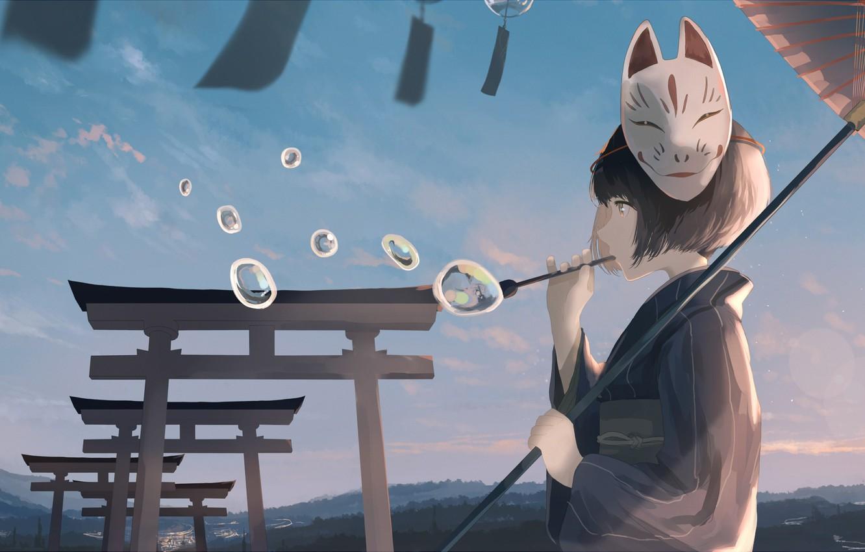 Фото обои небо, девушка, облака, пейзаж, закат, природа, пузыри, зонт, аниме, маска, арт, mifuru