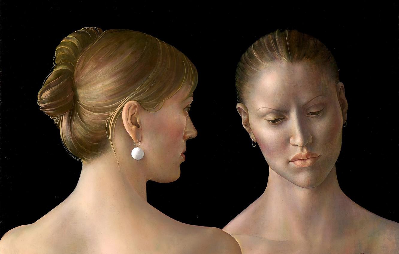 Фото обои блондинки, 2010, серьга, Фигуративная живопись, Normunds Braslins, Сокровенные чувства, две жещины
