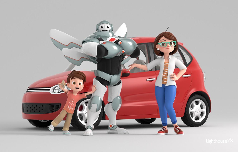 Фото обои фантастика, робот, арт, машинка, детская, Traffic is Life - Social Awareness Movie, Lorin Cinar