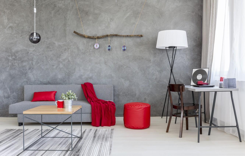 Фото обои красный, серый, диван, интерьер, шелк, Дом