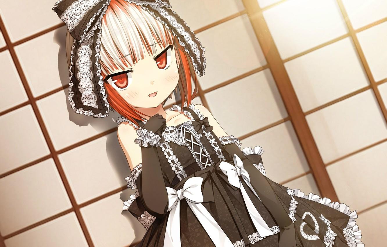 Фото обои рюшки, перчатки, бантики, черное платье, бант, кружево, art, челка, visual novel, cura, monobeno, sumi, лолли