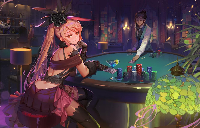 Фото обои взгляд, девушка, арт, зал, казино, Fate / Grand Order
