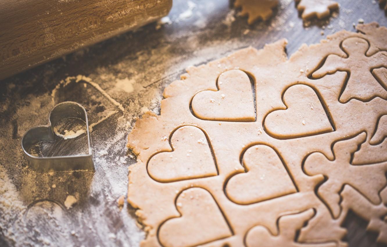 Фото обои сердце, ангел, печенье, тесто