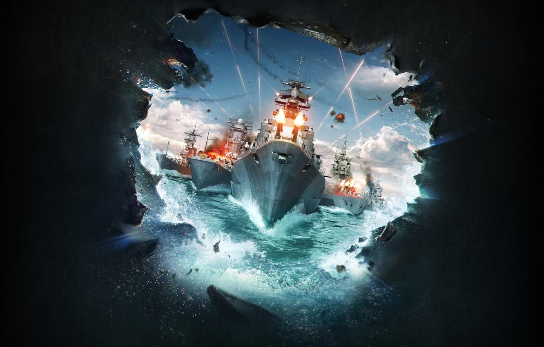 Фото обои корабли, Wargaming.net, World of Warships, Lesta Studio, пробоина