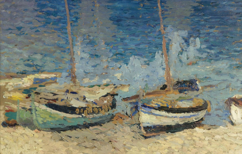 Фото обои пейзаж, картина, Анри-Жан Гильом Мартин, Henri Matrin, Лодки на Песке Коллиура
