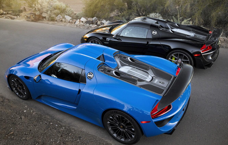 Фото обои Porsche, Blue, Black, Spyder, 918, Road, Supercar