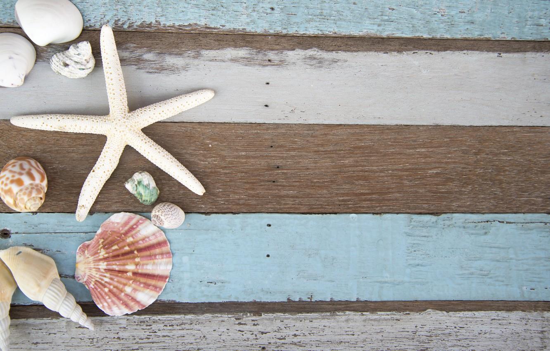 Фото обои ракушки, summer, wood, marine, starfish, composition, seashells