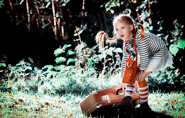 Фото обои лето, природа, девочка, косички, чемодан, гольфы, Пеппи, Длинныйчулок