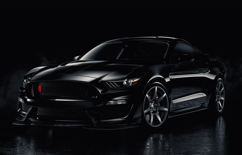Фото обои Mustang, Ford, Black, Smoke, Backgraund