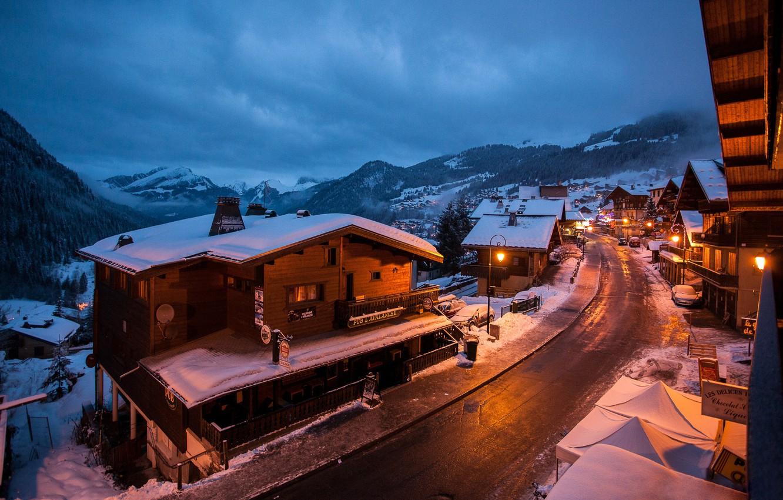 Фото обои зима, горы, огни, France, Chatel
