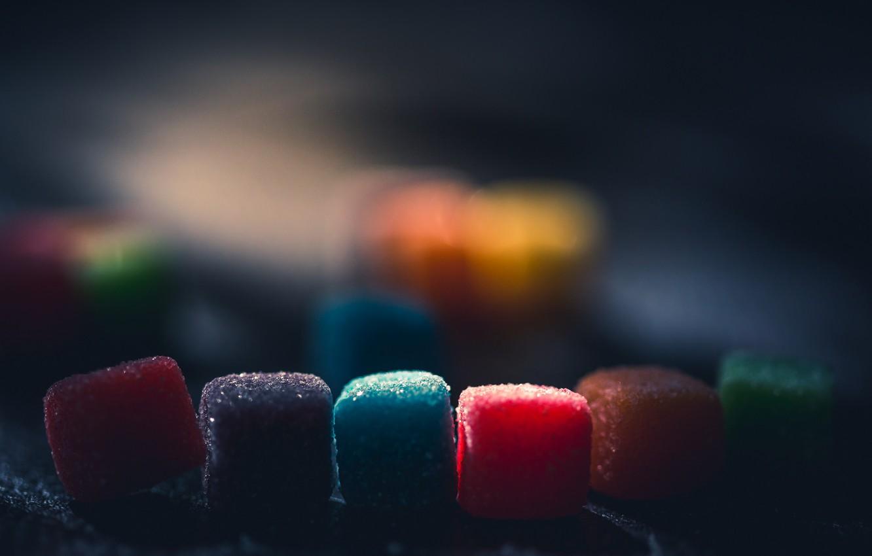 Фото обои макро, цвет, конфеты