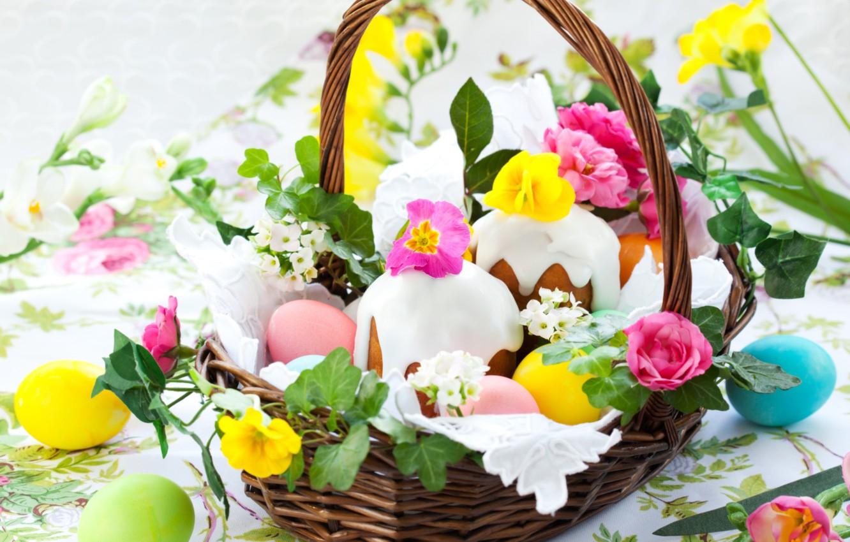 Фото обои цветы, яйца, Пасха, корзинка, кулич, примула