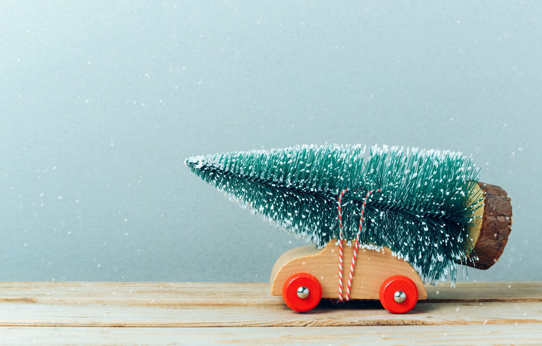 Фото обои снег, игрушка, елка, елочка, Машинка