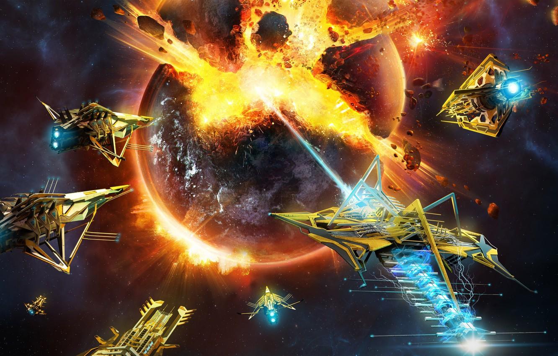 Фото обои space, explosion, fire, flame, game, war, Microsoft Windows, spaceship, planet, battle, galaxy, ship, RPG, spark, …