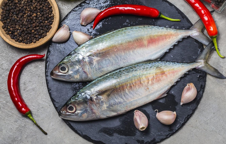 Фото обои рыба, специи, чеснок