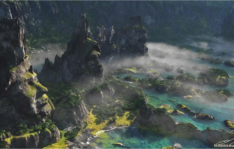 Фото обои горы, скалы, растительность, водоём, Stone Watchers