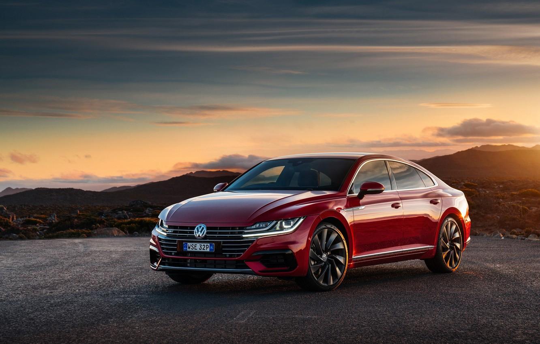 Фото обои машина, небо, закат, красный цвет, VolksWagen